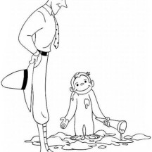 Ted Shackelford and Curious George Coloring Page