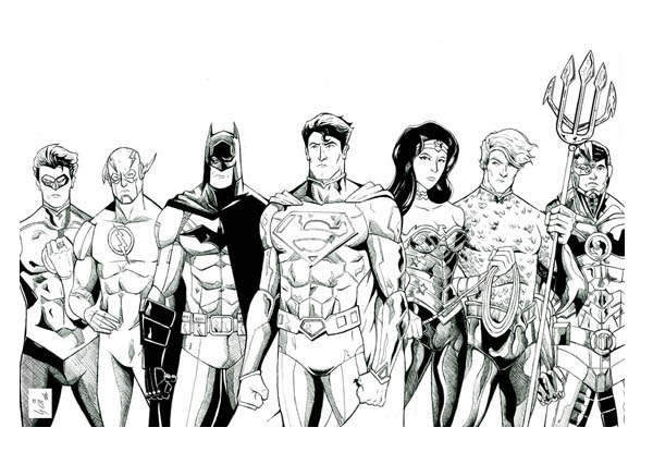 The Magnificent Seven of Justice League Coloring Page