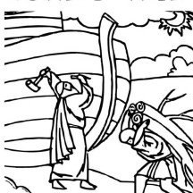 The Making of Noahs Ark in the Bible Heroes Coloring Page
