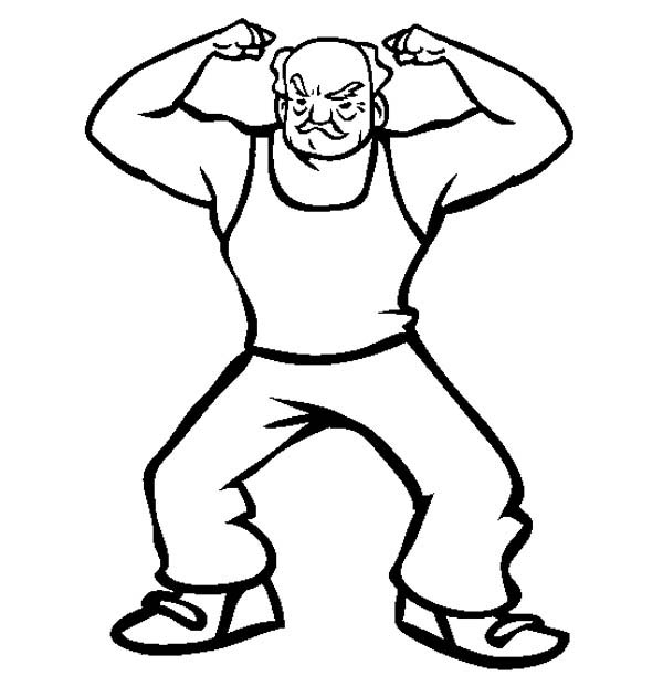 The Strongest Grandpa in Gran Parents Day Coloring Page