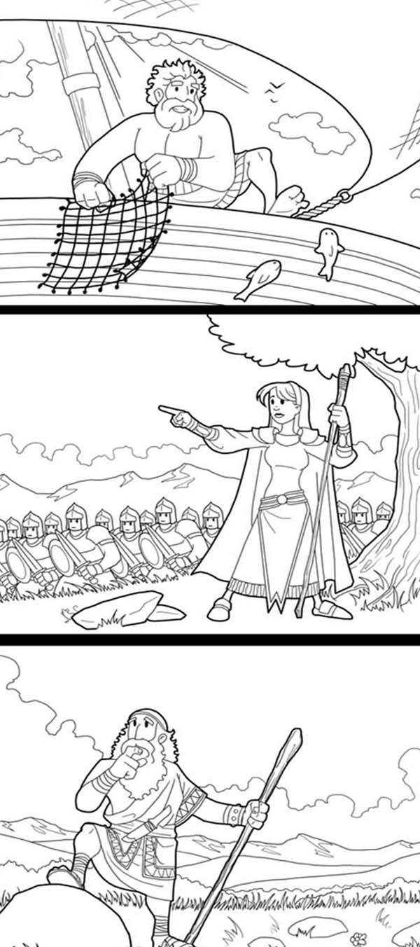 Three Great Story of the Bible Heroes Coloring Page