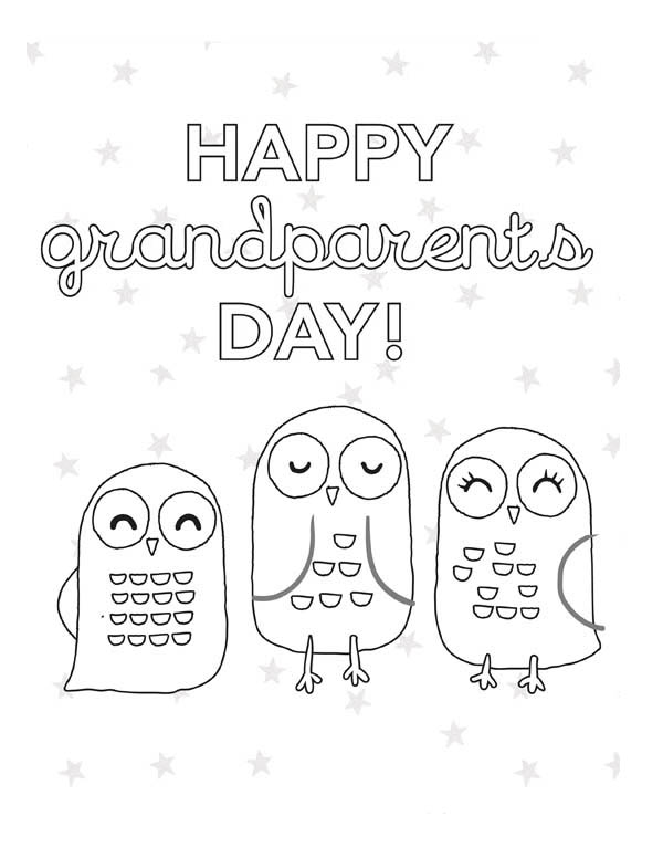 Three Owls Singing in Gran Parents Day Coloring Page