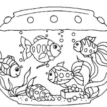 Various Fish Inside Fish Tank Coloring Page