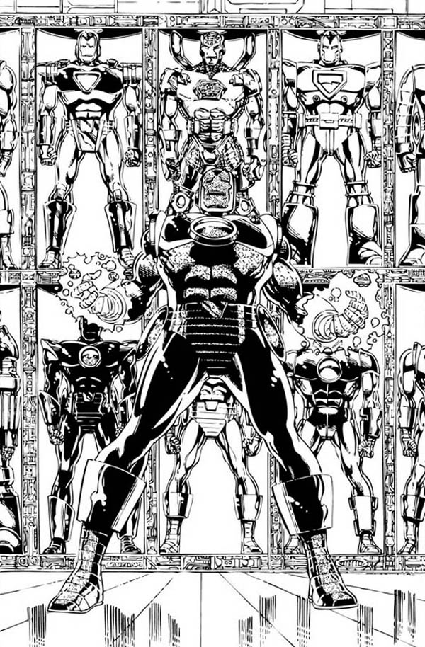 Various Type of Iron Man Armour Coloring Page