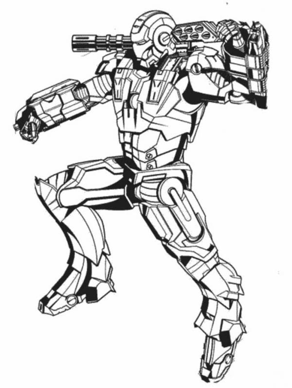 War Machine in Action in Iron Man Coloring Page