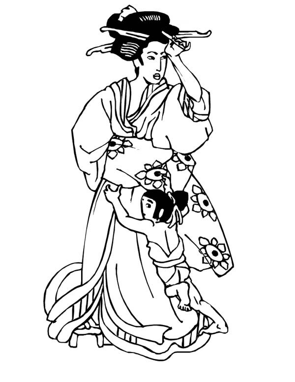 Geisha in Classic Drawing Coloring Page