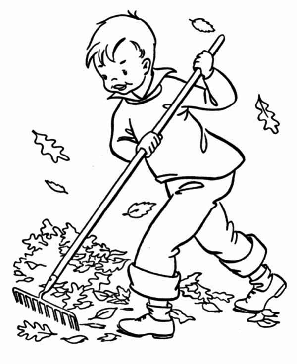 A Boy Clean Up Autumn Leaf Coloring Page NetArt