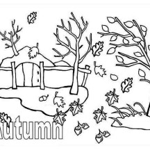 Autumn Season with Autumn Leaf Coloring Page