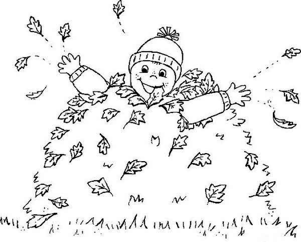 Boy Covered by Autumn Leaf Coloring Page