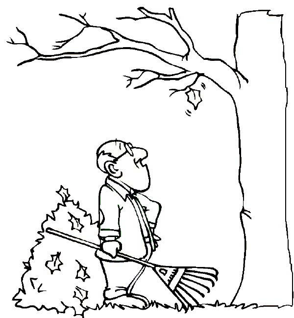 Father Watching Autumn Leaf Coloring Page