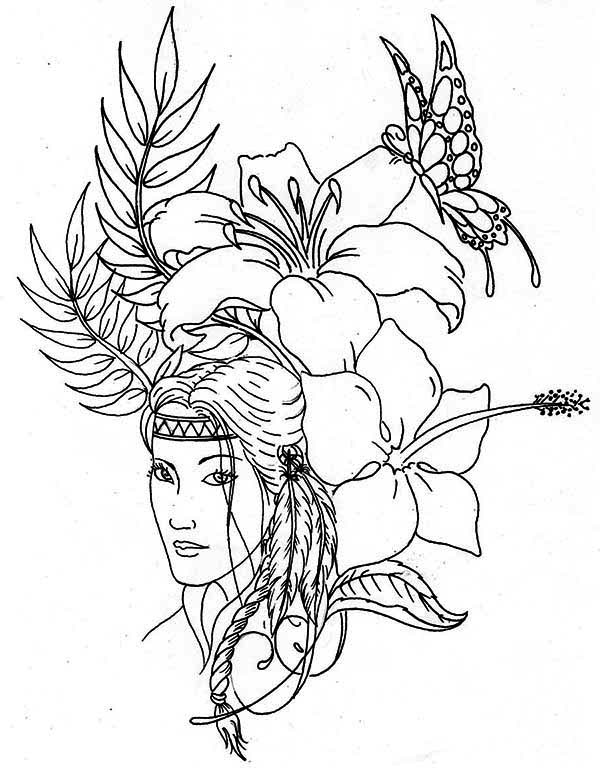 Lovely Native American On Native American Day Coloring Page Netart