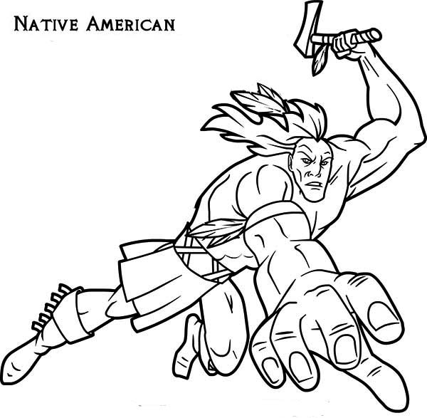 Native American Attacking with Tomahawk on Native American Day Coloring Page