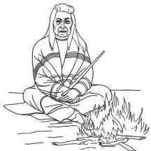 Native American Chief Sitting in Front of Fire on Native American Day Coloring Page