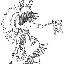Native American Doing Pow Wow Dance on Native American Day Coloring Page