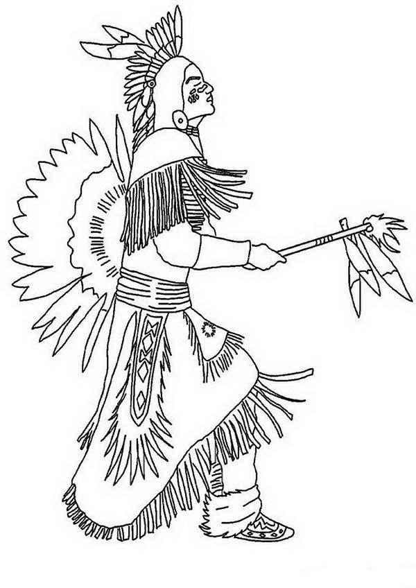 Native American Doing Pow Wow Dance On Native American Day