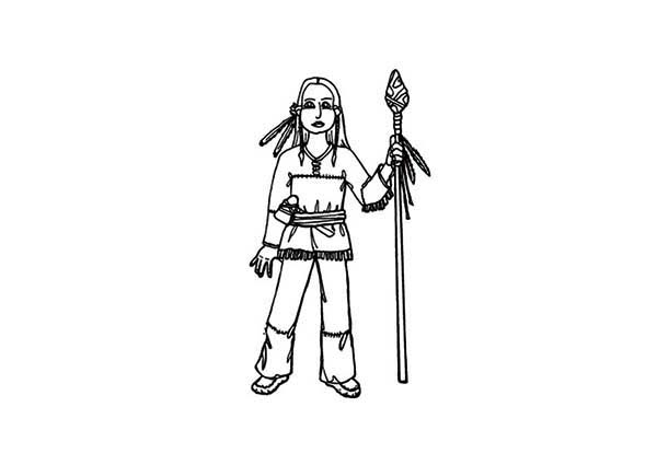 Native American and Spears on Native American Day Coloring Page