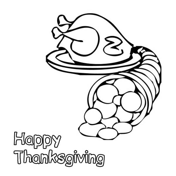 Canada Thanksgiving Day Turkey and a Bucket of Cornucopia Coloring Page