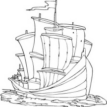 Columbus Big Fleet On Columbus Day Coloring Page