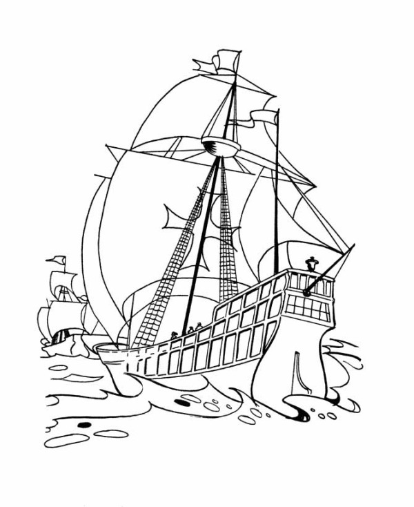 Columbus Fleets In The Ocean On Columbus Day Coloring Page