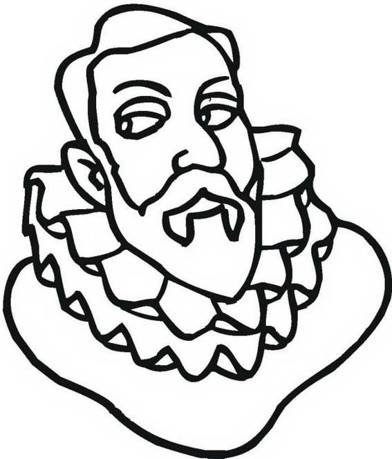 Columbus Head Figure On Columbus Day Coloring Page