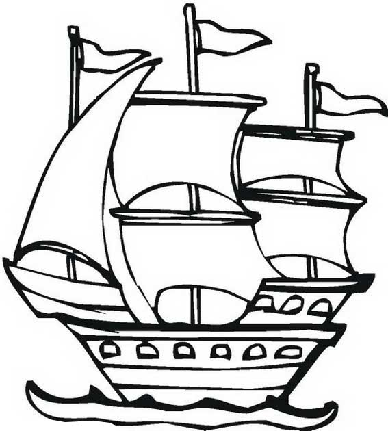 Columbus Pinta In Graphic On Columbus Day Coloring Page