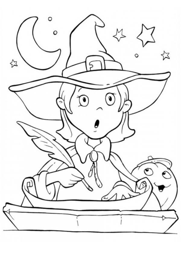 Funny Young Witch is Surprised on Halloween Day Coloring Page