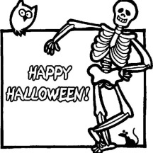 Joyful and Happy Halloween Day Says the Skeleton Coloring Page