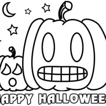 Joyful and Happy Halloween Day from Pumpkin Jack O' Lantern Coloring Page