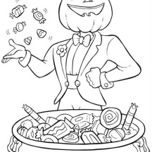 Pumpkin Jack O' Lantern Throwing Some Candy Treats on Halloween Day Coloring Page