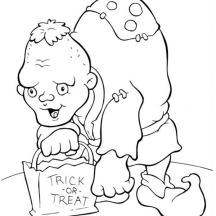 Spooky Huntchback Man on Halloween Day Coloring Page