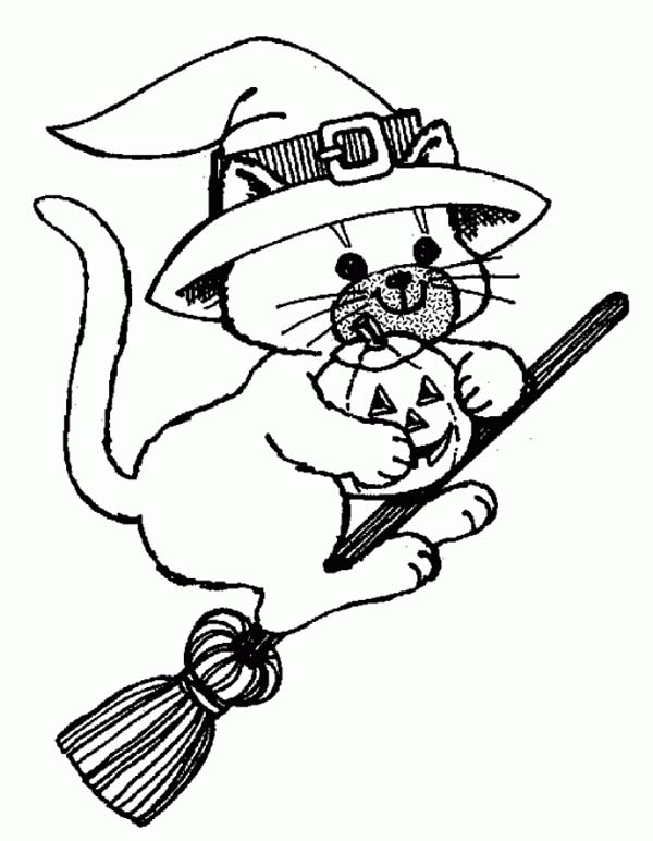 Witch Cat Riding Broomstick on Halloween Day Coloring Page ...