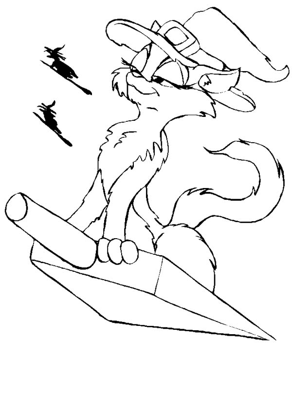 Witch Cat Riding Scoop on Halloween Day Coloring Page