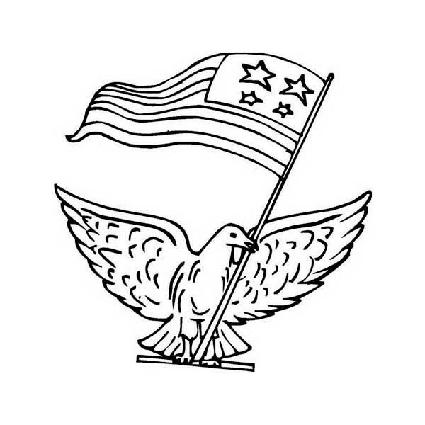 A Pigeon with US Flag Celebrating Veterans Day Coloring Page