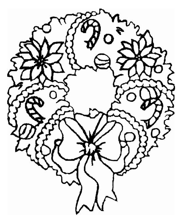 A Sweet Christmas Wreath Ornament on Christmas Coloring Page