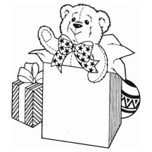 A Sweet Teddy Bear for Christmas Presents on Christmas Coloring Page