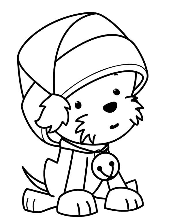 A Sweet Tiny Dog Wearing Santa Clauss Hat on Christmas Coloring Page