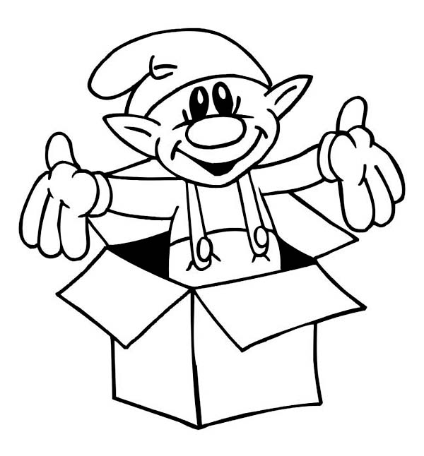 A Sweet Tiny Elf Giving a Christmas Surprise on Christmas Coloring Page