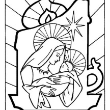 Baby Jesus and Mother Mary on Christmas Eve on Christmas Coloring Page