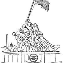 Celebrating Veterans Day at Iwo Jima Memorials Coloring Page