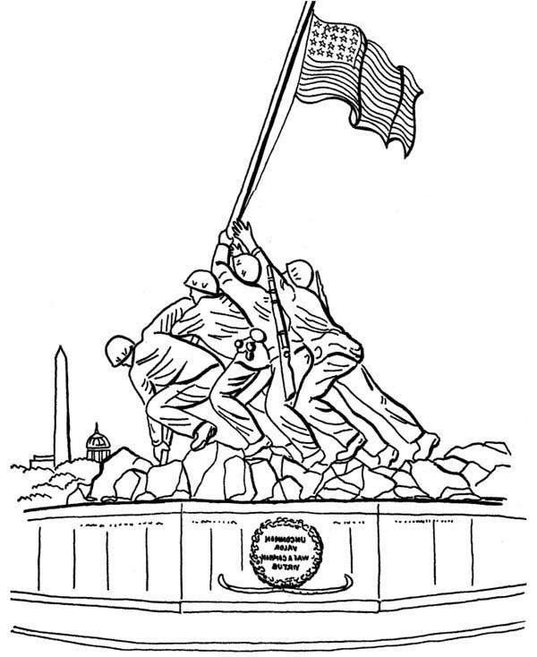 Celebrating Veterans Day at Iwo Jima Memorials Coloring Page