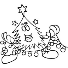 Christmas Tree Doing a Christmas Ornament on Christmas Coloring Page