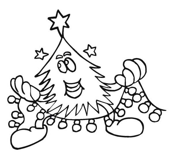 Christmas Tree Doing a Christmas Ornament on Christmas Coloring Page