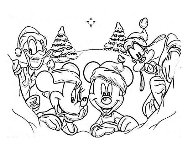 Disney Gang on Christmas Day on Christmas Coloring Page