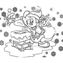 Mickey Mouse on Santa Claus Outfit on Christmas Coloring Page