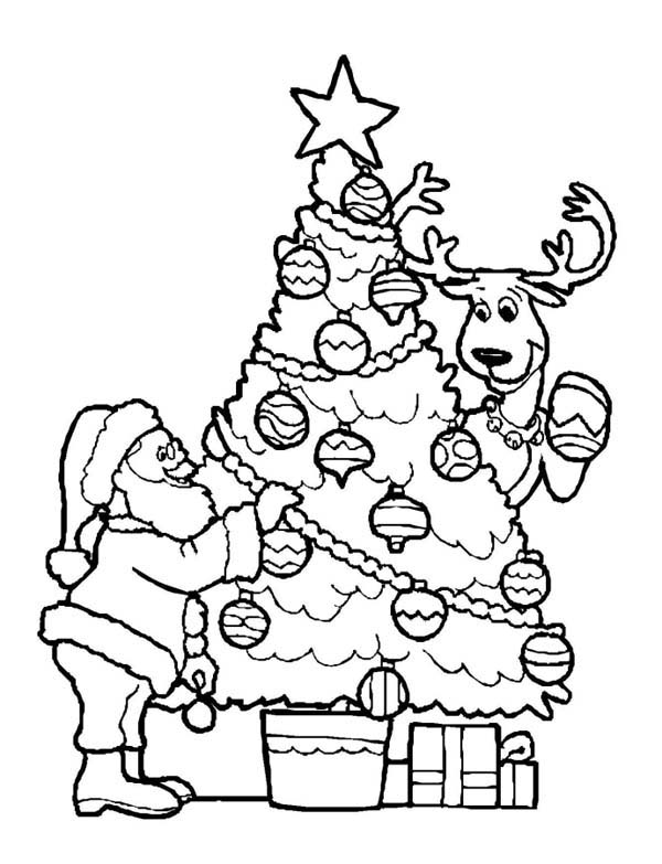Santa Claus Decorating Christmas Tree With The Reindeer On Christmas