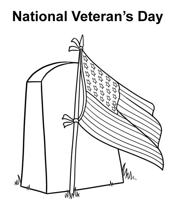 US Flag on Cemetary Celebrating Veterans Day Coloring Page