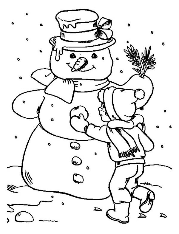 A Boy Finishing His Giant Mr Snowman Coloring Page