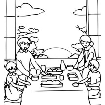 A Family Celebrating New Years Eve on 2015 New Year Coloring Page
