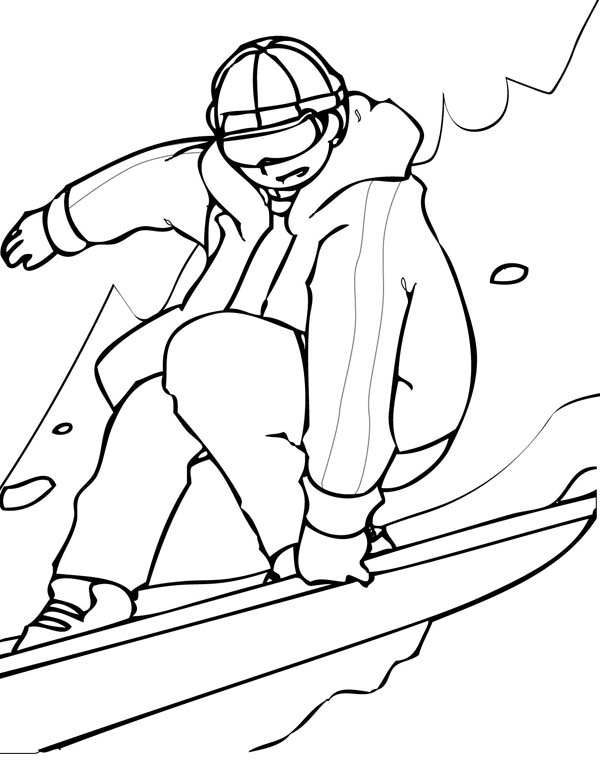 A Man Playing Snowboard on Winter Season Coloring Page
