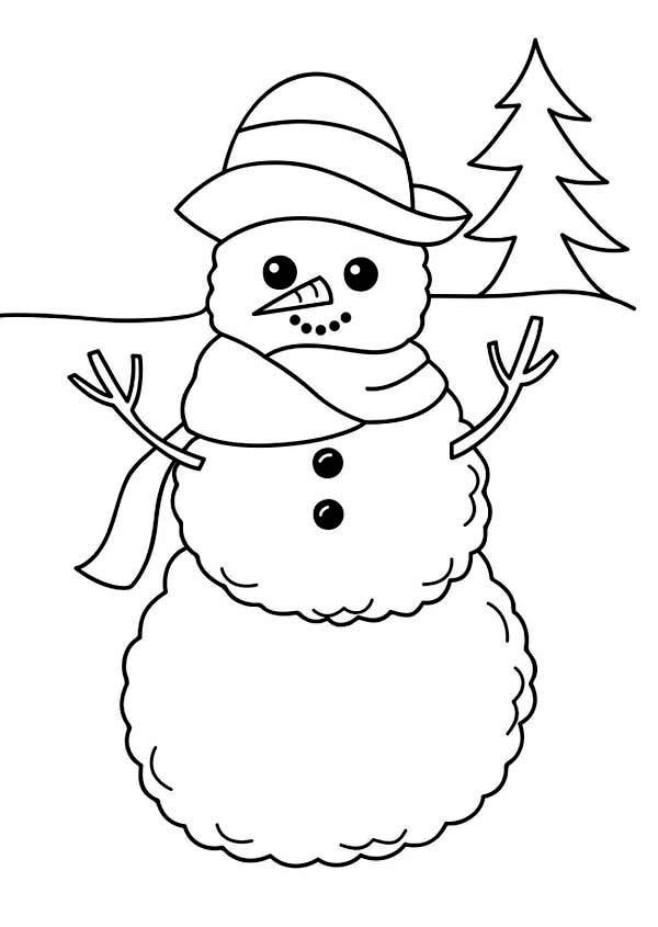 A Simple Mr Snowman Figure on Winter Season Coloring Page